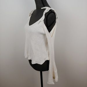 Cold shoulder ribbed sweater